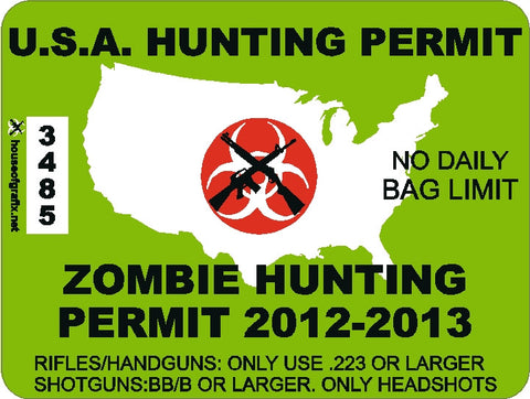 USA Zombie Hunting Permit Decal with Red