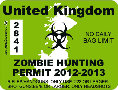 United Kingdom Zombie Hunting Permit Decal