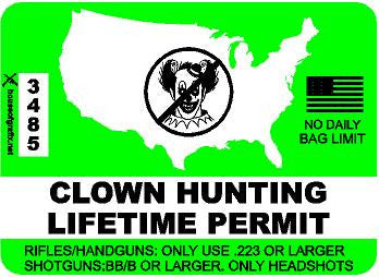Clown HUNTING LIFETIME PERMIT Decal
