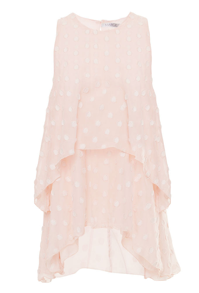 silk, tiered, flounce, tank, top, tall, women, elongated frame, pink, marge, clothing, luxury, brand