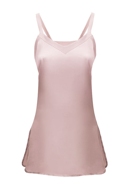 Amalie Silk V-Neck Camisole in Mauve Petal for Tall Women by MARGE Clothing
