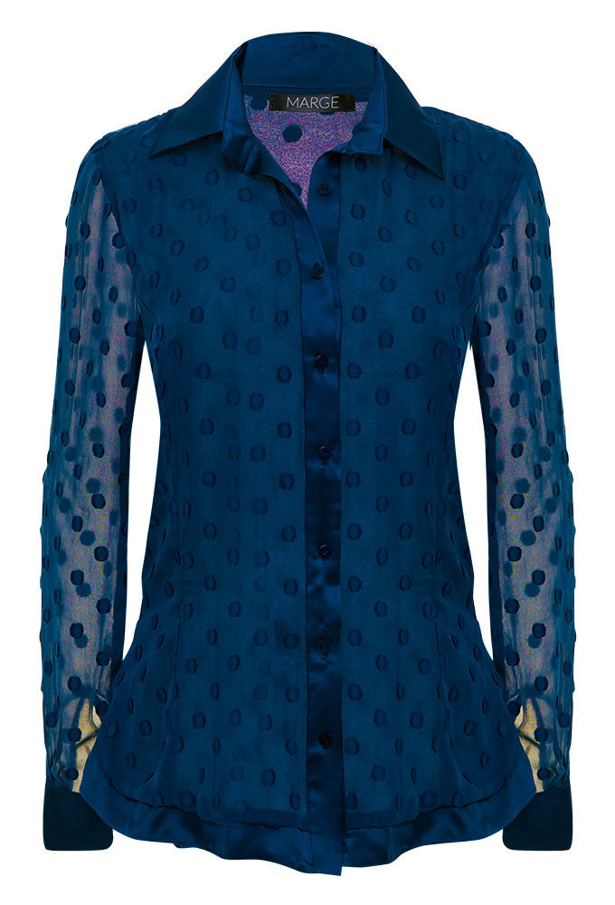 100% silk dress shirt for tall women. Embroidered and exclusively designed by MARGE Clothing.