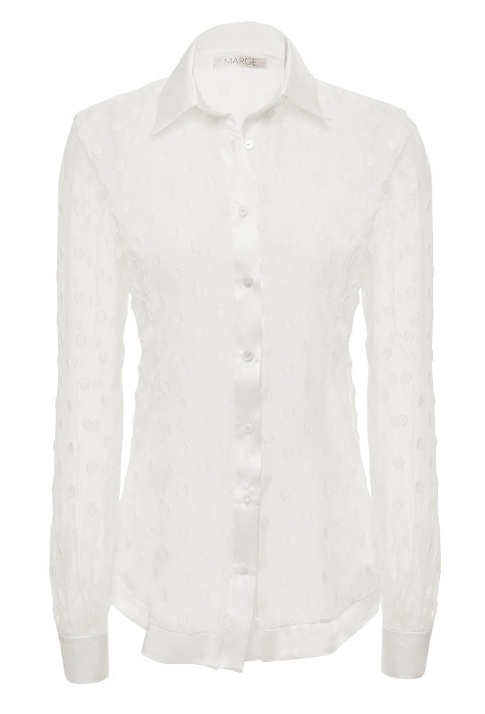 ANNI 100% Silk Dress Shirt for tall women. White. Embroidered. By luxury designer, MARGE Clothing.
