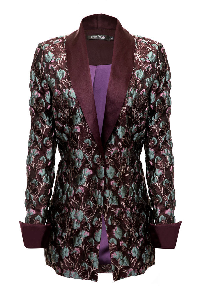 Elin Textured Jacquard Silk Jacket for Tall Women by MARGE Clothing - Product Front