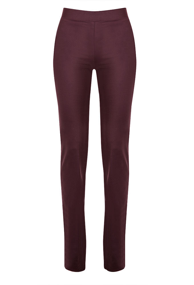 Esther Wool Straight Leg Pant in Deep Plum for Tall Women by MARGE Clothing - Product Front