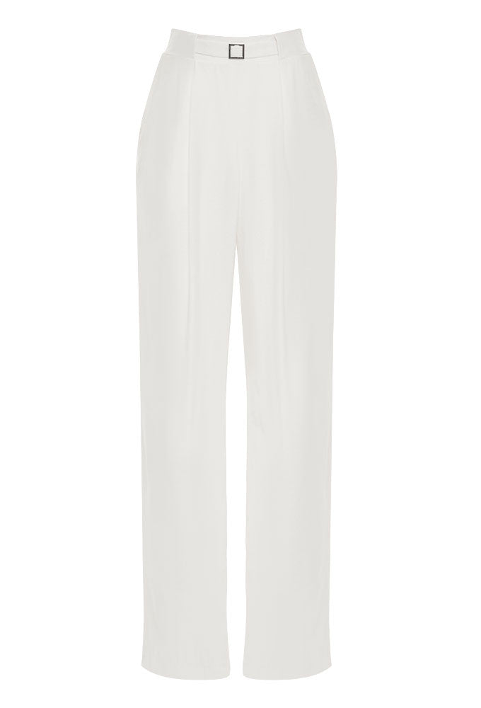 ivory crepe blend pleated wide leg pant for tall women by MARGE Clothing