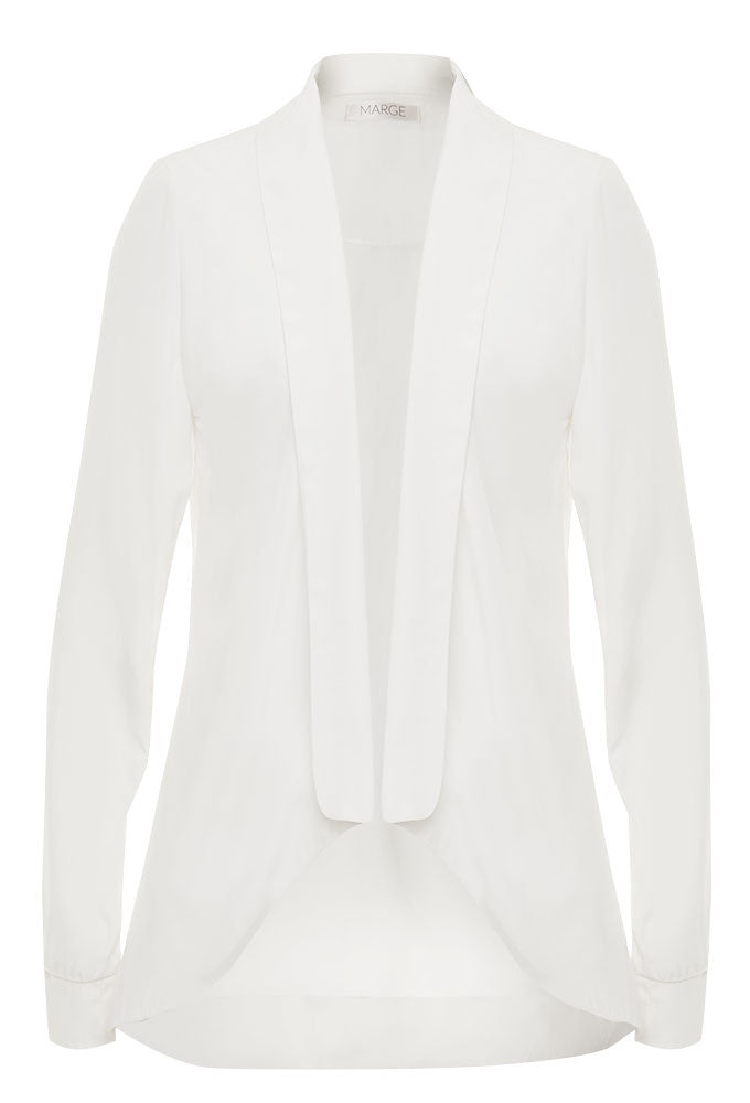 Ivory crepe and silk draped jacket for tall women by MARGE Clothing.