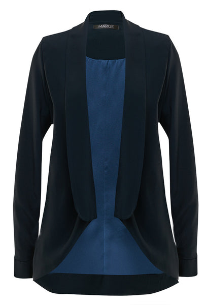 Midnight blue, crepe and silk draped jacket for tall women by MARGE Clothing.