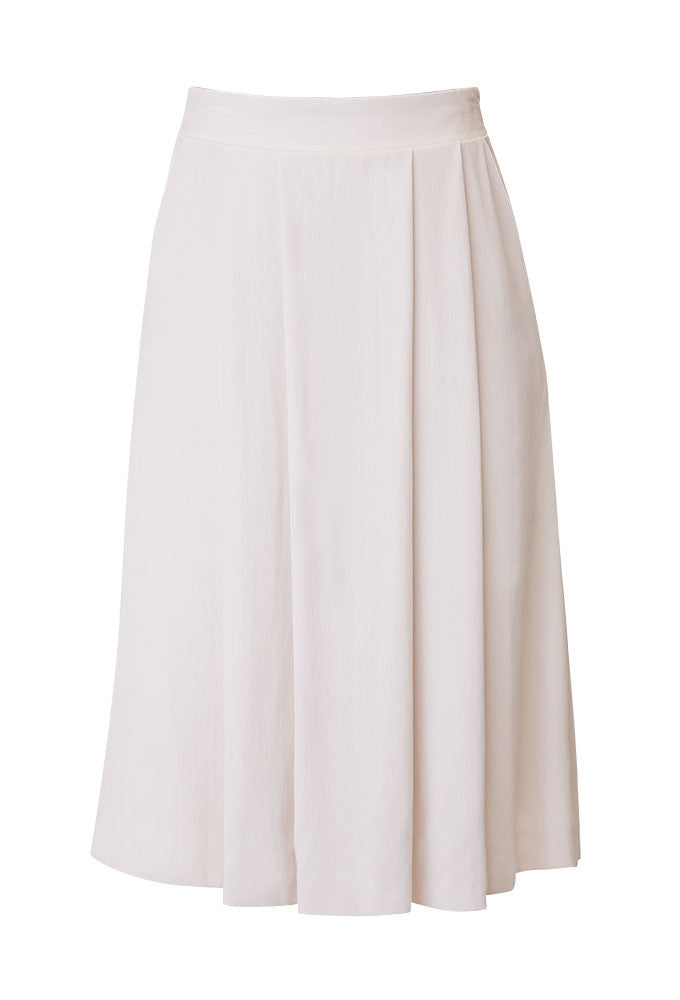 Naja Crepe Satin Blend Pleated Skirt in Ivory for Tall Women by MARGE Clothing - Product Front View