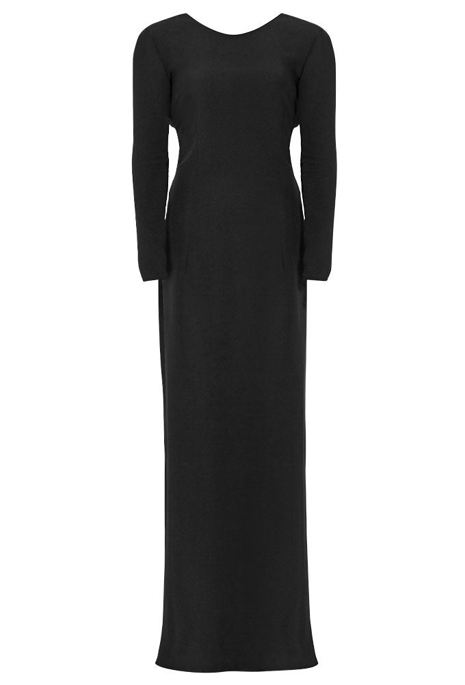 Black crepe drape gown for tall women by MARGE Clothing.
