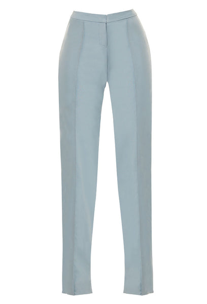 Blue, summer-weight wool crop pant for tall women by MARGE Clothing.