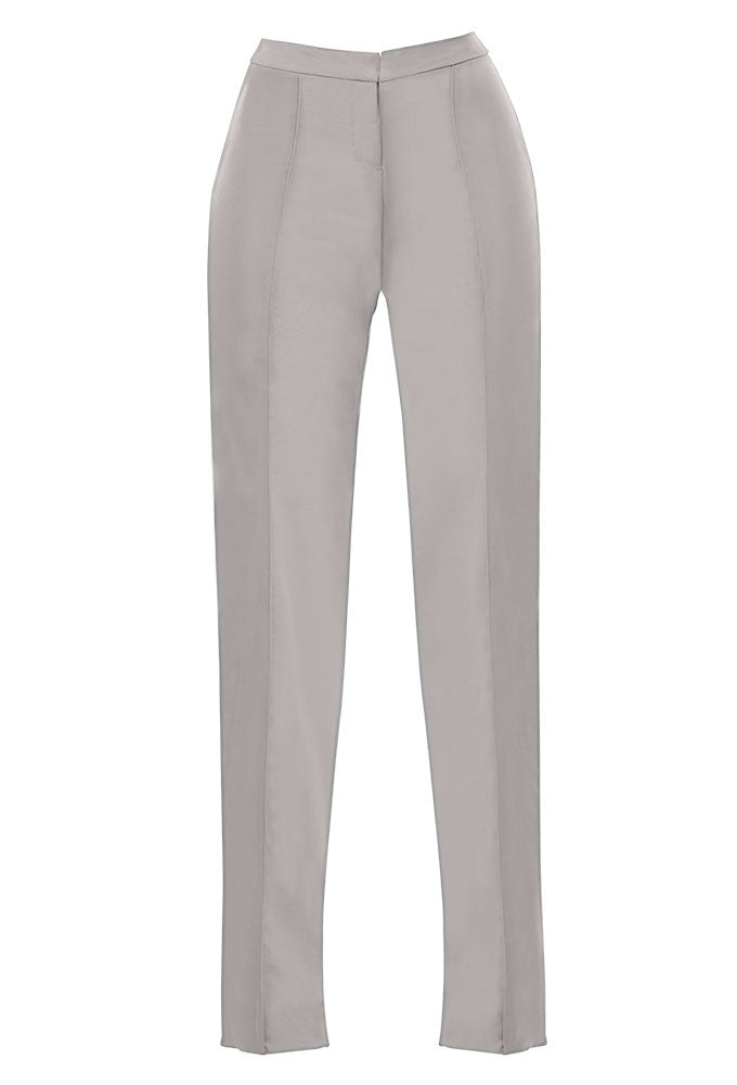 Gray summer-weight wool crop pant for tall women by Marge Clothing.