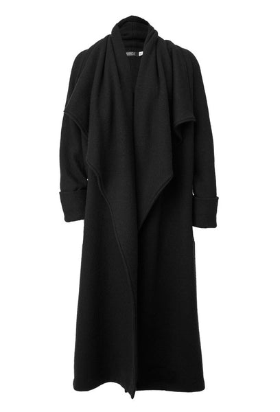 Lisbet Long Virgin Boiled Wool Coat in Charcoal Black for Tall Women by MARGE Clothing