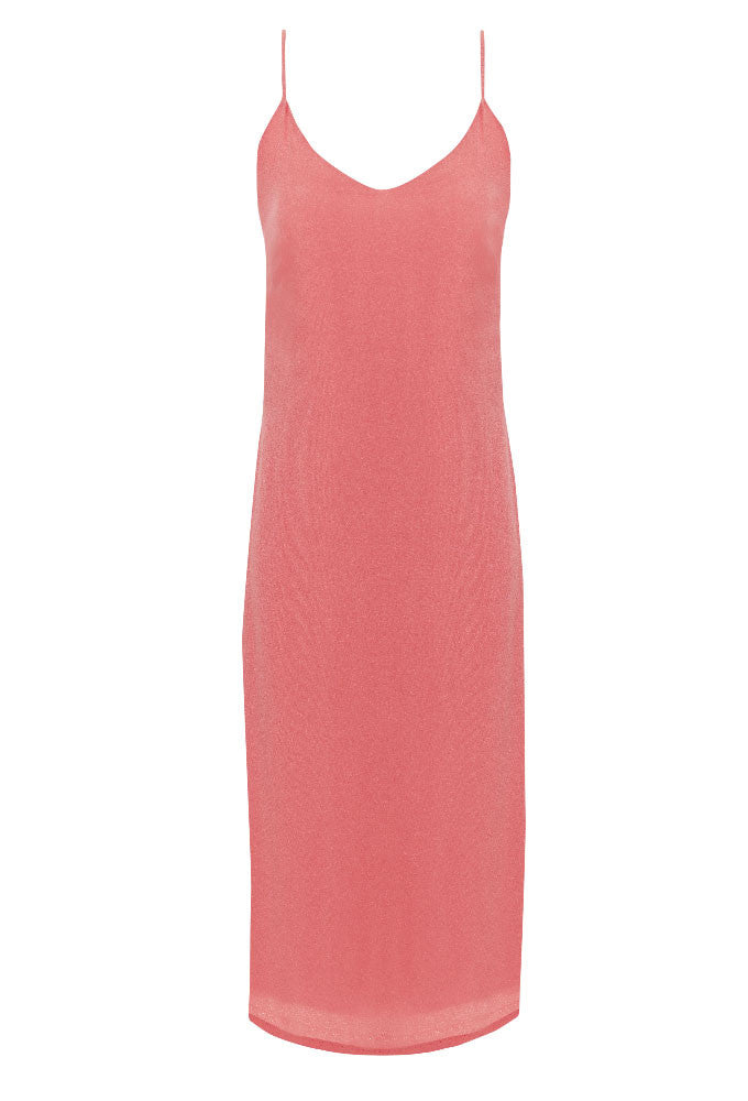 Peach crepe slip dress for tall women by Marge Clothing.