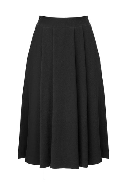 Naja Crepe Satin Blend Pleated Skirt in Charcoal Black for Tall Women by MARGE Clothing - Product Front