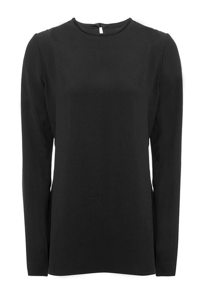 Nina Crepe Satin Blend Blouse in Charcoal Black for Tall Women by MARGE Clothing - Product Front