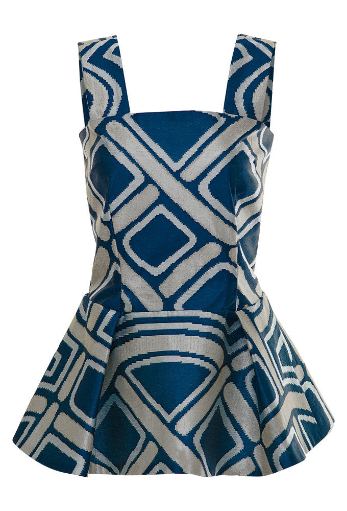 Fitted jacquard pleated tank top for tall women by MARGE Clothing.