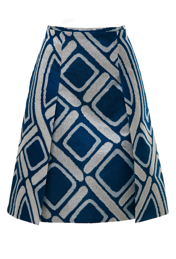 Jacquard dual slit skirt for tall women designed by MARGE Clothing.