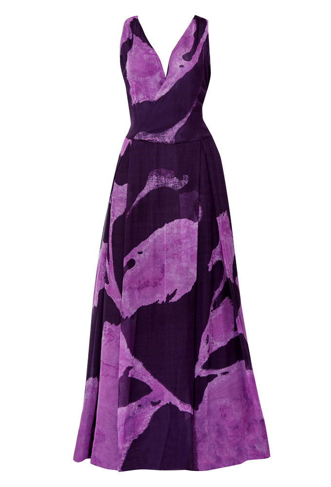 Purple silk chiffon ball gown for tall women designed by MARGE Clothing.