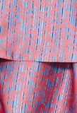 Custom print tiered flounce skirt for tall women in coral and blue by MARGE Clothing.