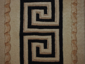 5' X 8' Greek Key Frame Frame Transitional Hand-knotted Black,Gold Rectangle Wool Rug - Direct Rug Import | Rugs in Chicago, Indiana,South Bend,Granger
