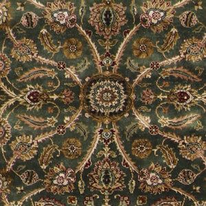 "4'2""x6'2"" Decorative Green Hand Spun Wool Hand-Knotted Rug"