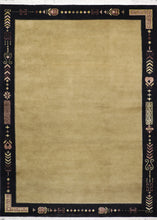 "Load image into Gallery viewer, 8'8""x12' Decorative Tan Tibetan Wool & Silk Hand-Knotted Rug"