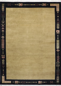 "8'8""x12' Decorative Tan Tibetan Wool & Silk Hand-Knotted Rug"