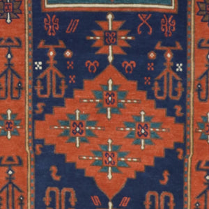 "6'2""x9'1"" Traditional Orange Wool Hand-Knotted Rug - Direct Rug Import 