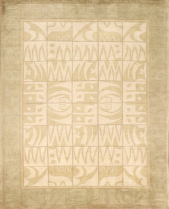 "7'11""x9'11"" Decorative Tibetan Cream Wool Hand-Knotted Rug"
