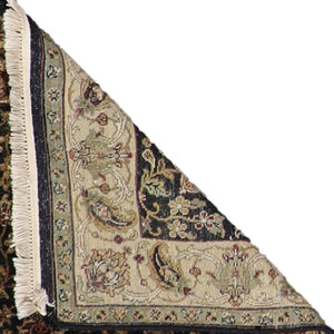 4'x6' Decorative Black Hand Spun Wool Hand-Knotted Rug