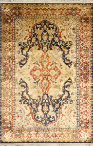 "6'2""x9'2"" Traditional Tan Kerman Shah Wool Hand-Knotted Rug"