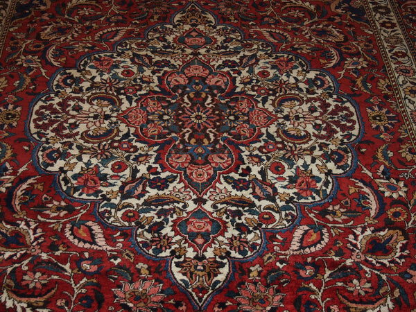 6'9'' X 10'5'' Persian Bakhtiari Medallion Semi-Antique Red Rectangle Wool Rug