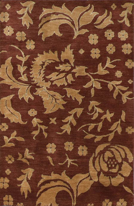 "3'11""x6'2"" Transitional Brown Nepal Wool Hand-Knotted Rug"