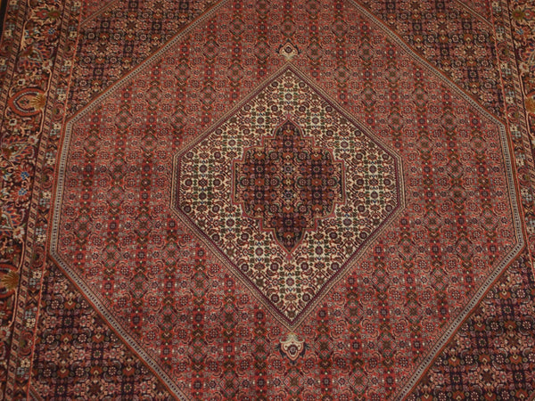 6'11'' X 10'3'' Persian Beijar Medallion Semi-Antique Rust Rectangle Wool Rug