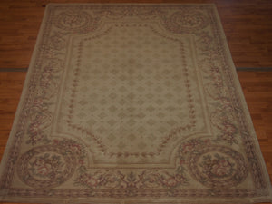 6' X 8'2'' Abusson Tone-on-Tone Traditional Hand-knotted Tan,Pink Rectangle Wool Rug - Direct Rug Import | Rugs in Chicago, Indiana,South Bend,Granger