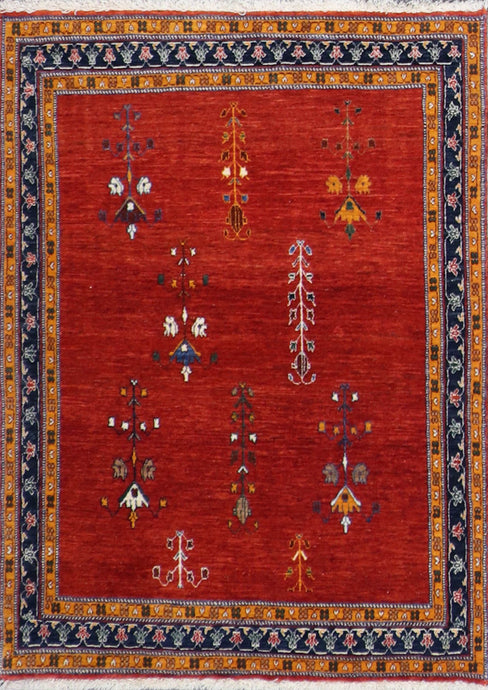 "3'7""x5'3"" Decorative Rust Wool Hand-Knotted Rug"