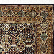 "Load image into Gallery viewer, 5'7""x7'7"" Traditional Navy Tabriz Wool Hand-Knotted Rug"