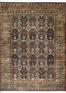 "5'7""x7'7"" Traditional Navy Tabriz Wool Hand-Knotted Rug"