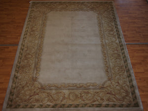 8'3'' X 11'3'' Abusson Frame Traditional Hand-Knotted Gold,Tan Rectangle Wool Rug - Direct Rug Import | Rugs in Chicago, Indiana,South Bend,Granger