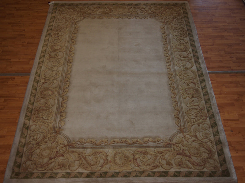 8'3'' X 11'3'' Abusson Frame Traditional Hand-Knotted Gold,Tan Rectangle Wool Rug