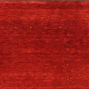 "3'10""x5'10"" Contemporary Gabbeh Red Wool Hand-Knotted Rug"