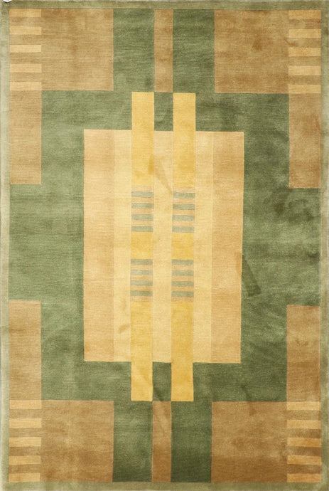 "5'6""x8'6"" Contemporary Tan Wool Hand-Knotted Rug - Direct Rug Import 