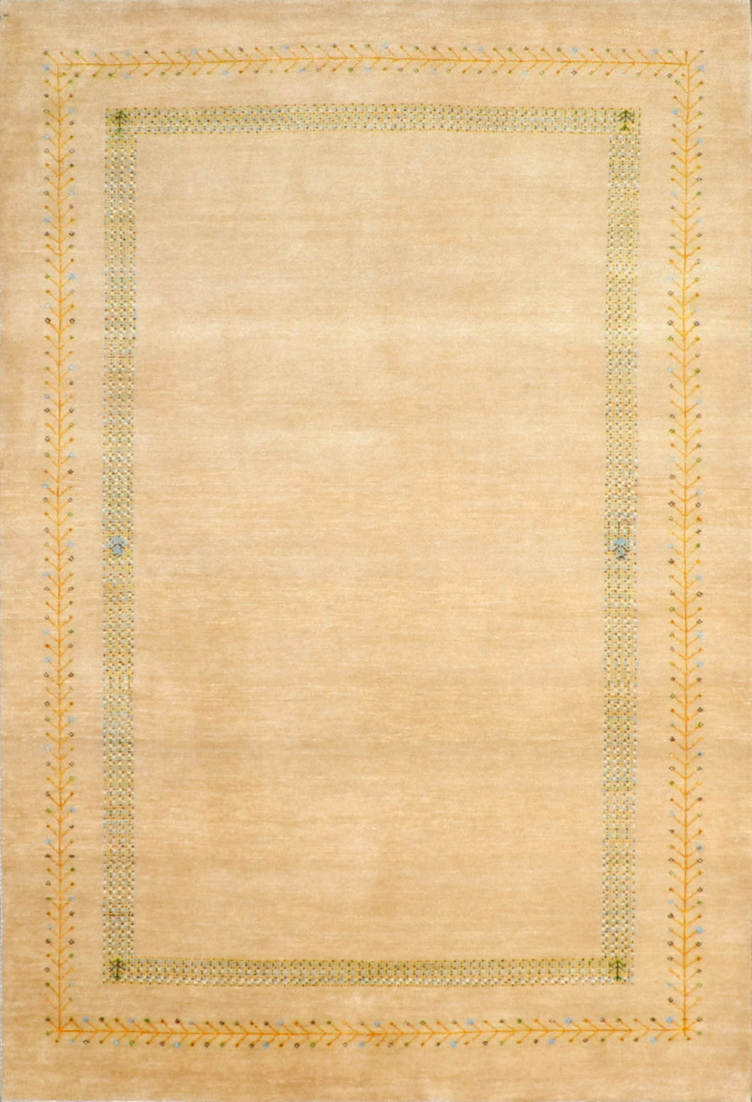 "4'x5'10"" Decorative Gabbeh Tan Wool Hand-Knotted Rug"