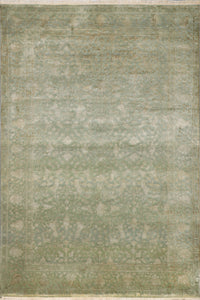 "6'x8'9"" Transitional Green Wool & Silk Hand-Knotted Rug - Direct Rug Import 