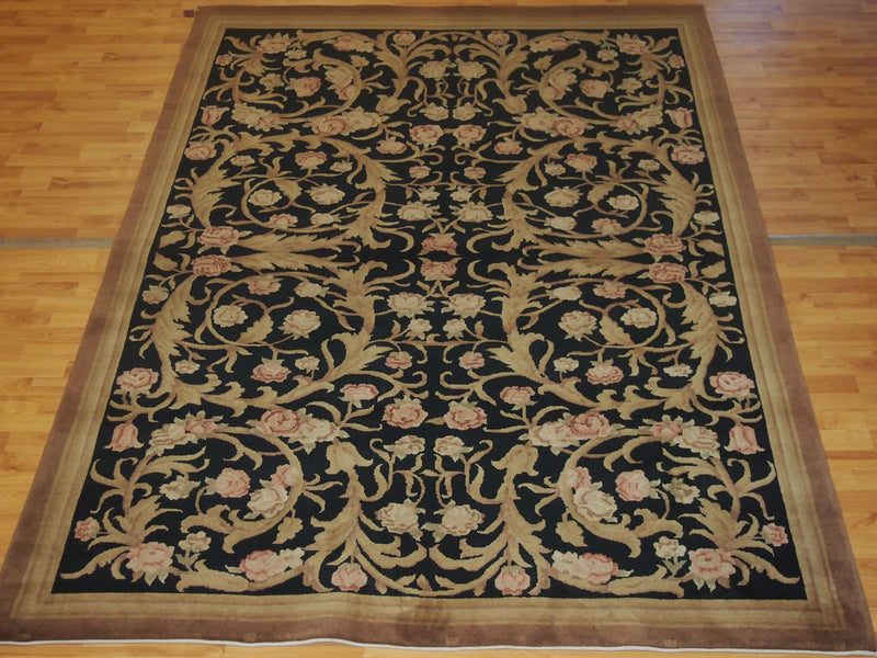 6'2'' X 9'1'' Abusson Roses Curvilinear Traditional Hand-knotted Pink,Gold Rectangle Wool Rug