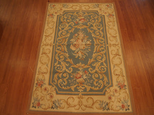 4' X 6' Abusson Gold Scroll Curvilinear Traditional Hand-knotted Gold Rectangle Wool Rug - Direct Rug Import | Rugs in Chicago, Indiana,South Bend,Granger