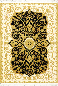 "3'10""x5'10"" Classic Versace Black Wool Hand-Knotted Rugs"