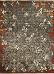 "9'x12'3"" Transitional Gray Wool & Silk Hand-Knotted Rug"