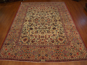 9'8'' X 13' Persian Yazed Overall Semi-Antique Red Rectangle Wool Rug - Direct Rug Import | Rugs in Chicago, Indiana,South Bend,Granger